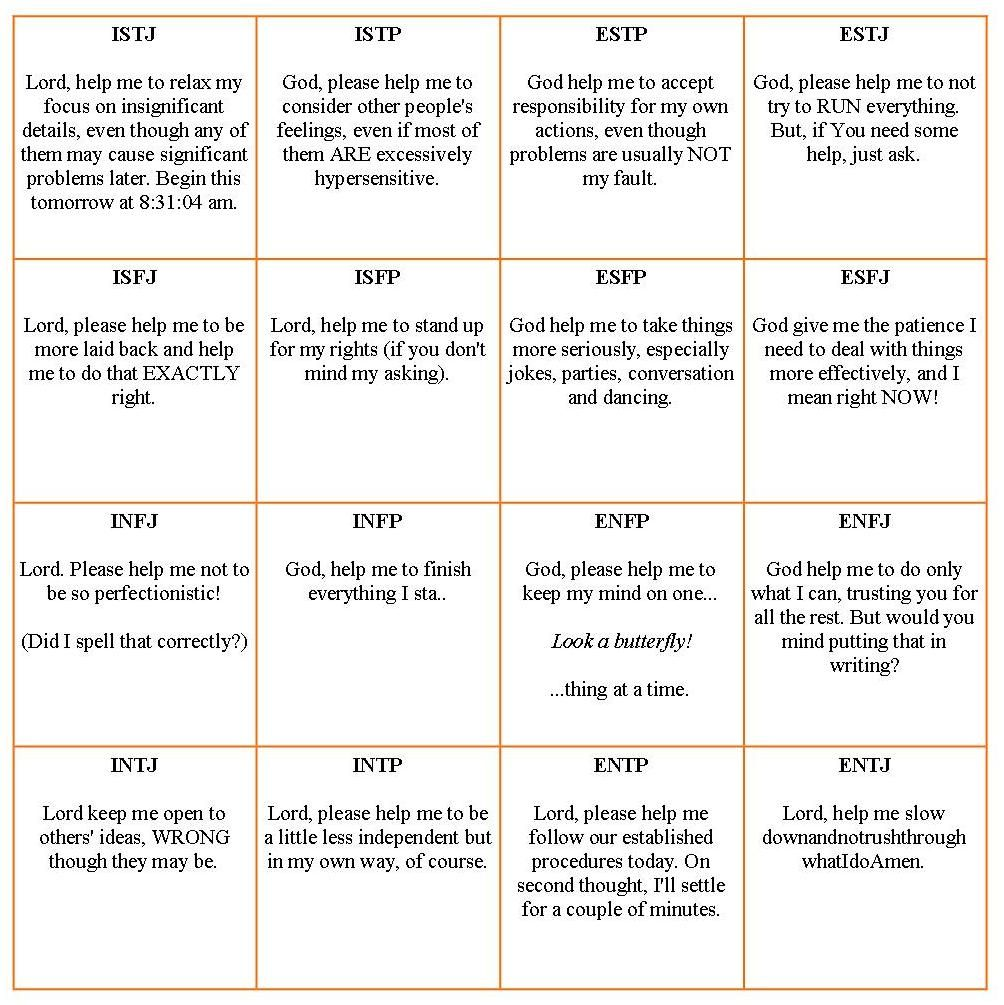 Funny  Prayers Of Different Personality Types Based On