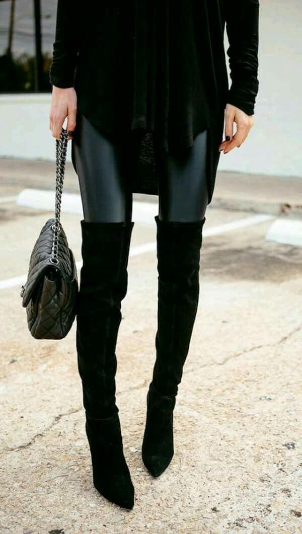 Outfit con botas largas y leggins simil cuero | outfis f en