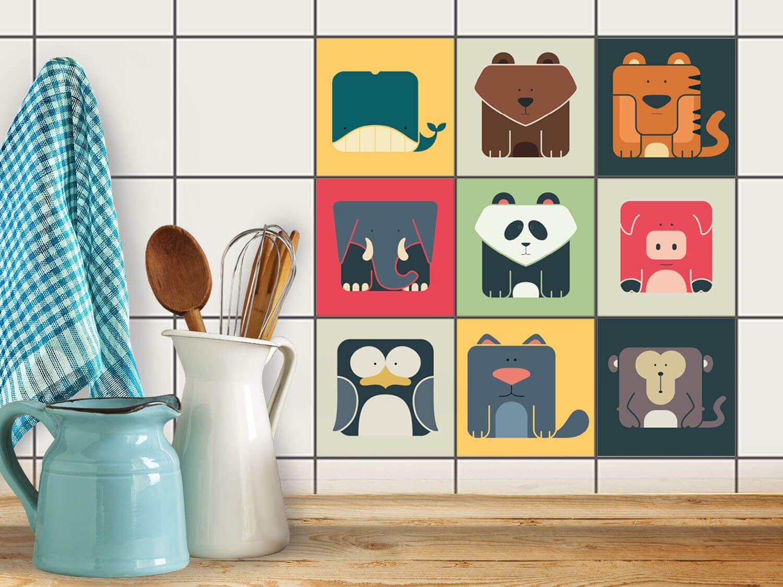 Fliesenaufkleber Set für Küche & Bad Design Zoo Maniac