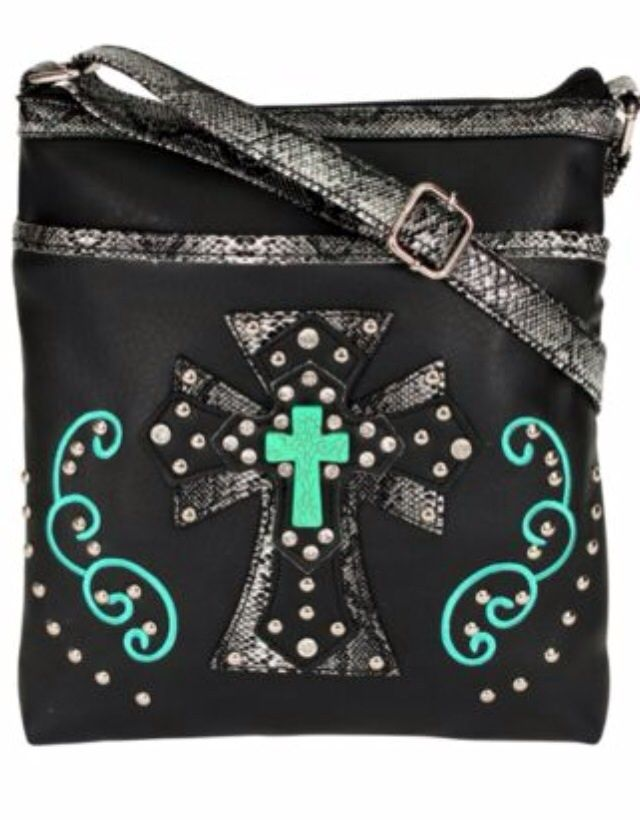 """Faux Leather Construction * Faux Snakeskin Leather * Silvertone Studs * Embroidered Accents * 5.5"""" Layered Faux Snakeskin, Faux Leather, and Faux Turquoise Stone Cross with Stud and Crystal Accents * Zip Top Closure * Fully Lined * Inside Zip Pocket * Outside Front Open Pocket * Outside Back Zip ...  http://allthingscountryshop.storenvy.com"""