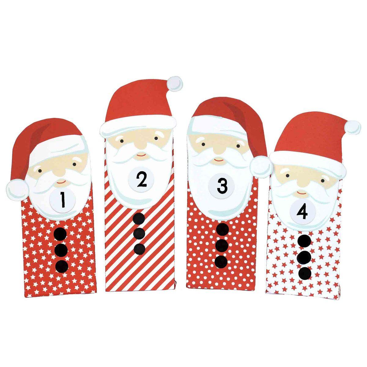 adventskalender weihnachtsmann mit roten t ten zum aufkleben diy adventskalender ideen zum. Black Bedroom Furniture Sets. Home Design Ideas