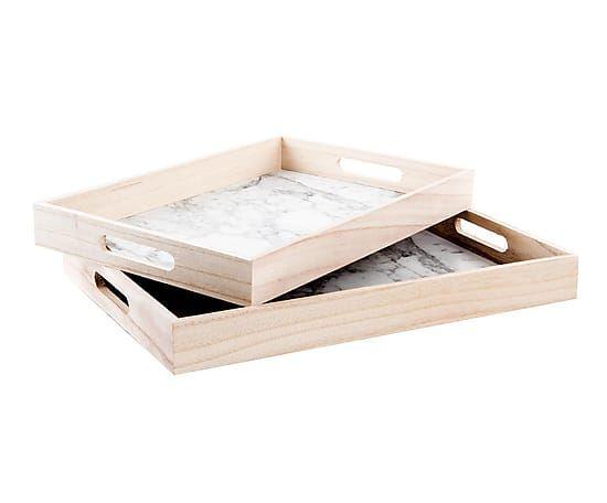 Set de 2 bandejas en madera DM y paulonia - natural y gris