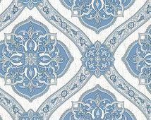 Blue Gray Rosette Filigree Wallpaper MK70302