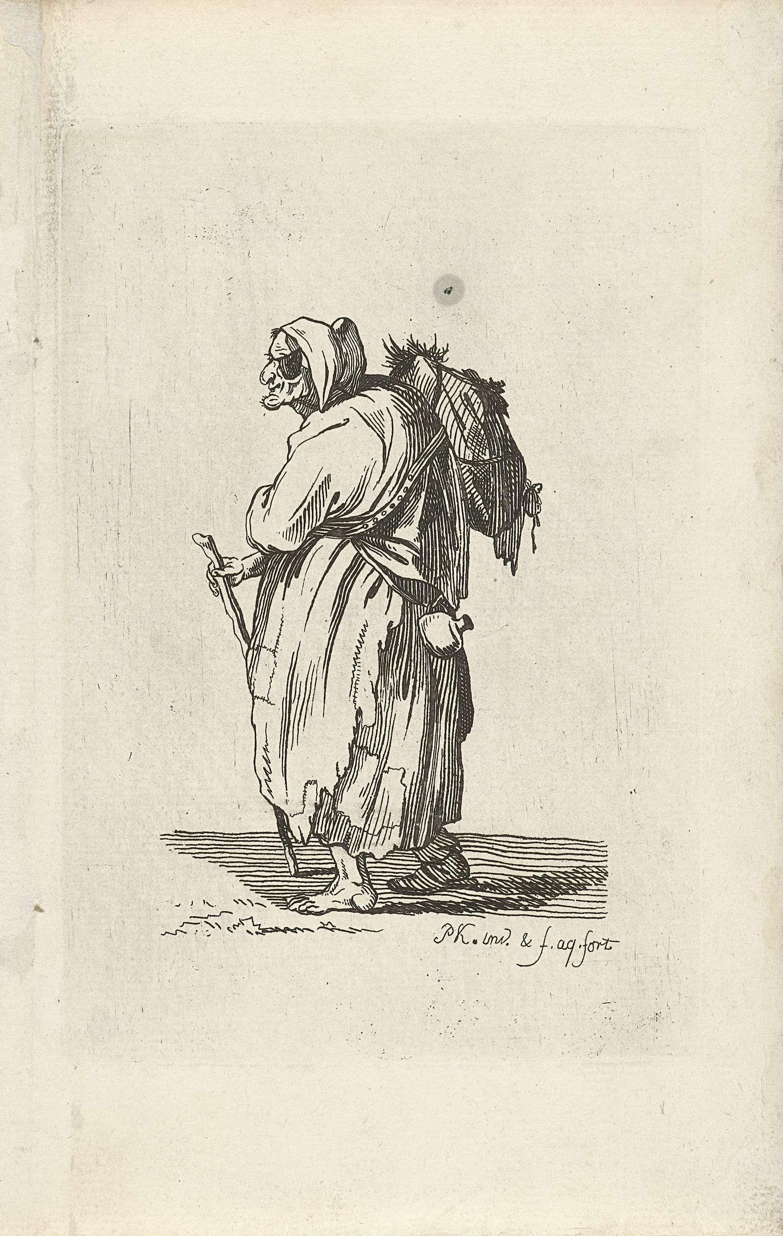 Pieter Kikkert | Landloopster, Pieter Kikkert, 1798 | Een landloopster met een oogklepje en een wandelstok loopt bepakt en bezakt naar links.