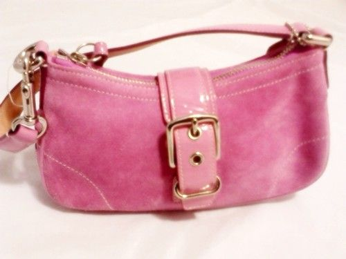 COACH Pink Suede Leather Mini HANDBAG Purse #9761