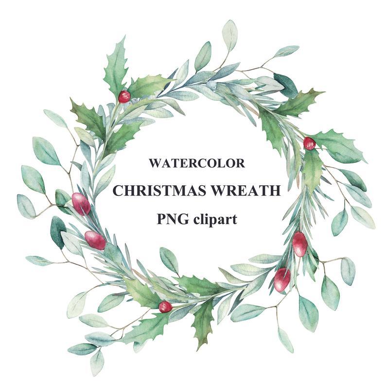 Watercolor Christmas Wreath Clipart Etsy Christmas Wreath Clipart Christmas Watercolor Christmas Wreath Illustration