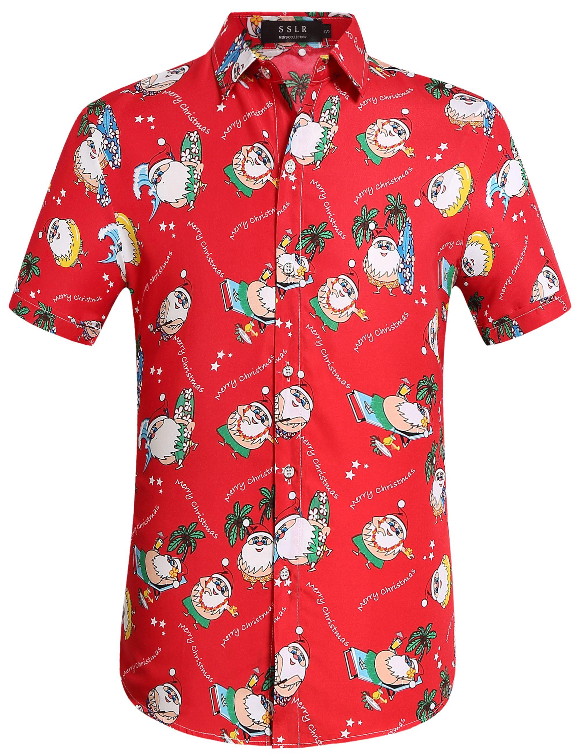 Christmas Hawaiian Shirt.Sslr Men S Christmas Santa Claus Button Down Casual Hawaiian