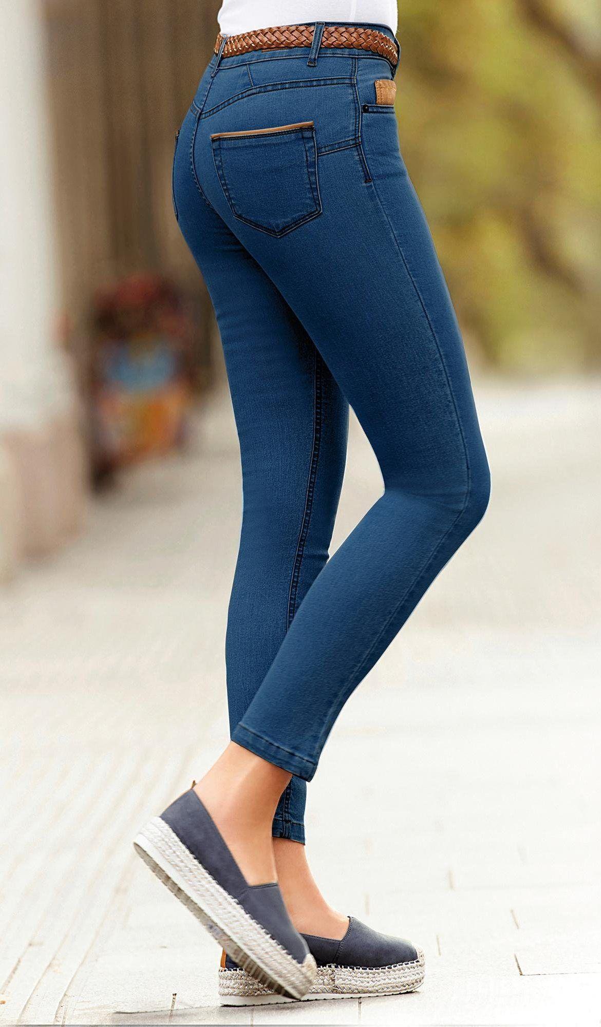 45611e4a84a6 Jean skinny 5 poches taille haute femme Exclusivité 3SUISSES - Bleu