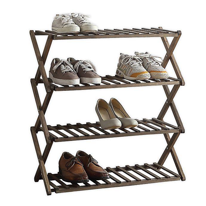 Lifestyle Home 4 Tier Solid Wood Foldable Shoe Rack In Dark Brown Bed Bath Beyond Wood Shoe Rack Build A Closet Shoe Rack