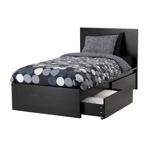 Malm High Bed Frame 2 Storage Boxes Black Brown Twin Malm Bed