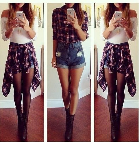 Cute ways to wear a plaid shirt, high-waisted shorts, and lace up ...