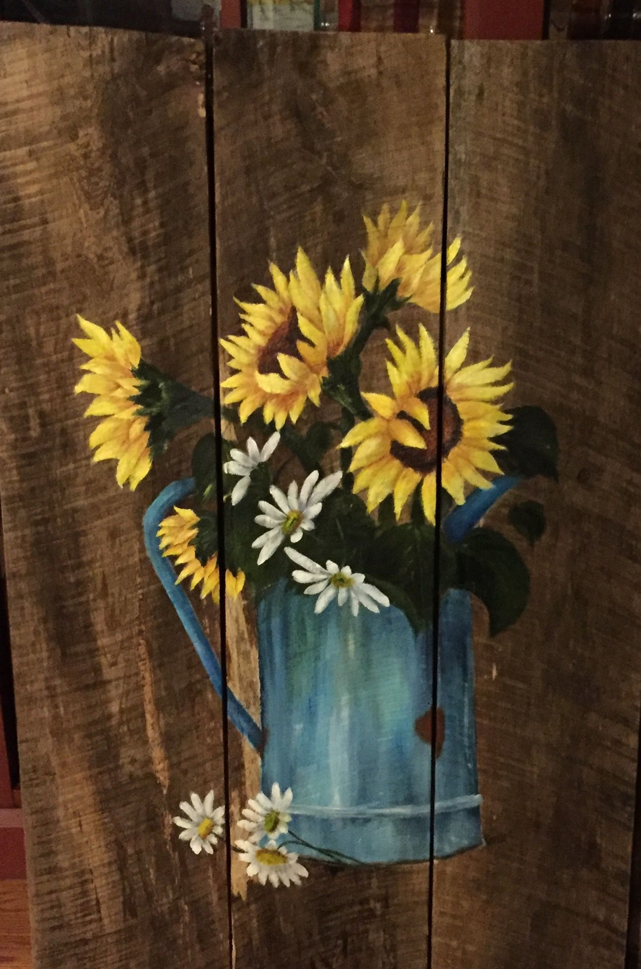 Hand painted sunflowers on barnwood | 0painted | Pinterest ...