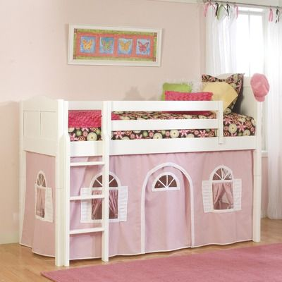 Bolton Furniture Cottage Low Loft Tent Bed in White with Pink Bottom Curtain