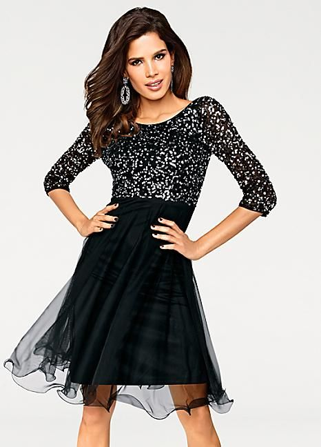 2604390cee401f Sequin Embellished Three-Quarter Sleeve Dress by Heine Ashley Brooke ...