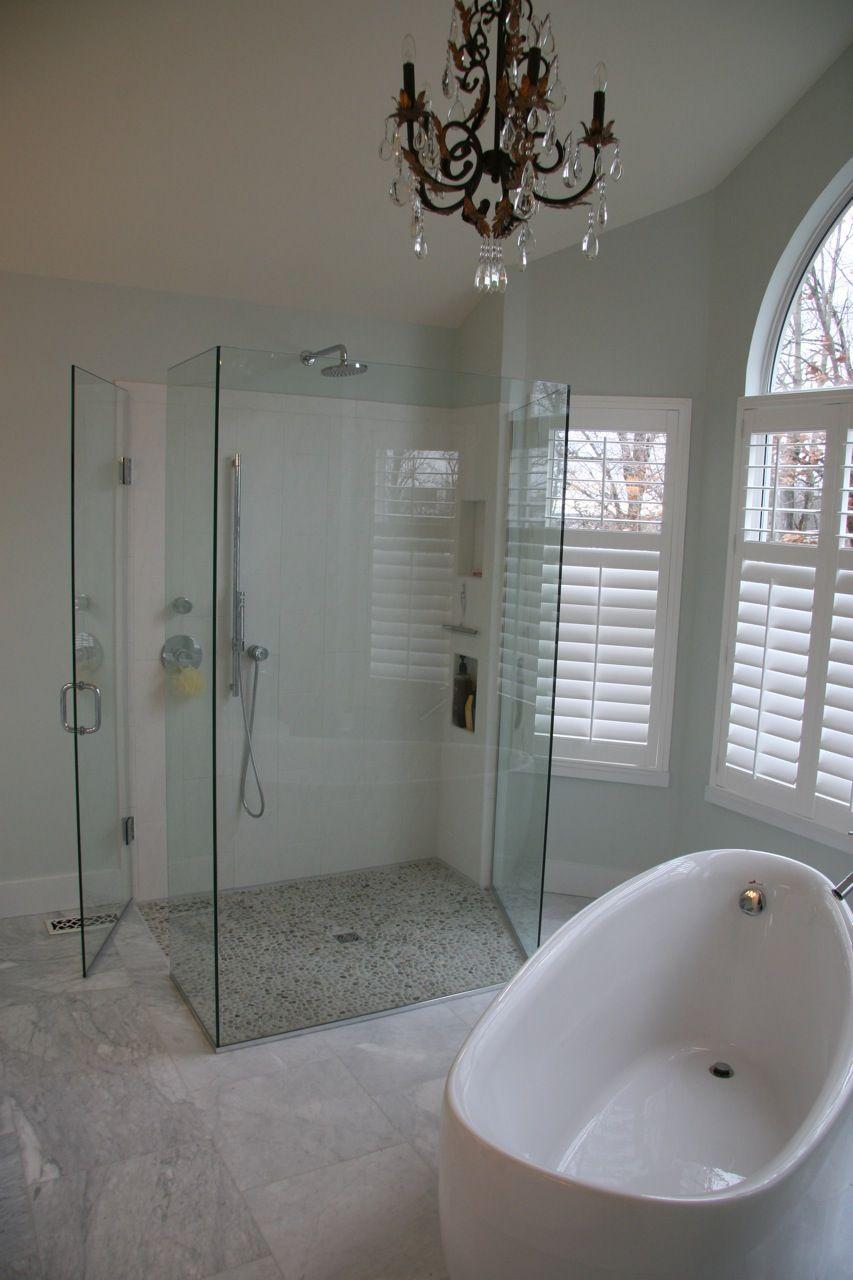 Light & Airy Spa | Spa, Portfolio lighting and Glass shower enclosures