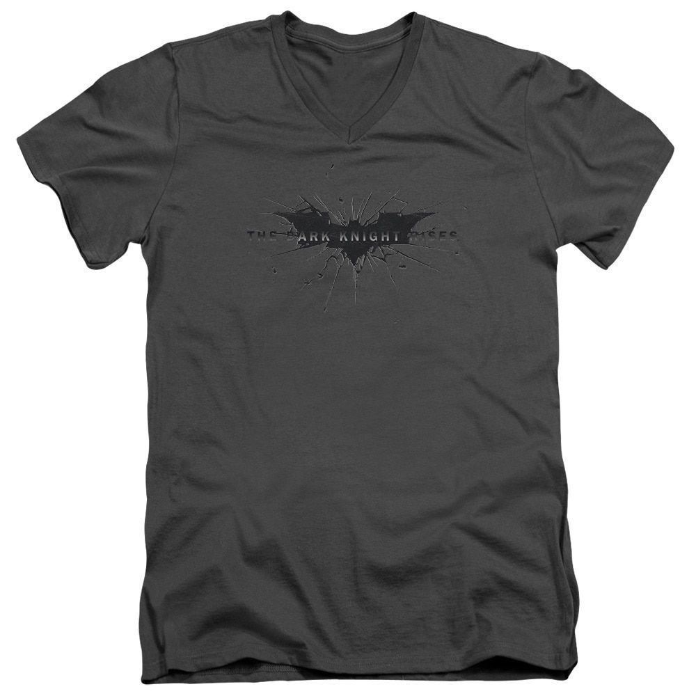 Dark Knight Riseshort Sleevecratched Logo Short Sleeve Adult T-Shirt V-Neck in Charcoal