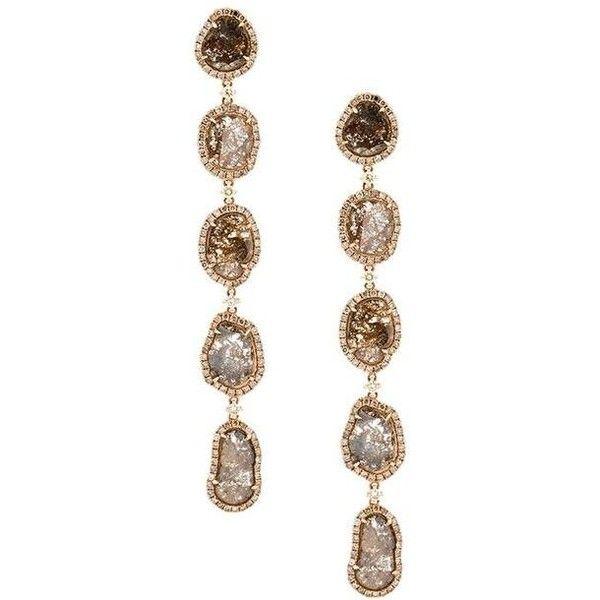 Saqqara Long Sliced Diamond Drop Earrings (45.660 BRL) ❤ liked on Polyvore featuring jewelry, earrings, accessories, brincos, 18k earrings, diamond jewelry, pave earrings, diamond drop earrings and 18k jewelry