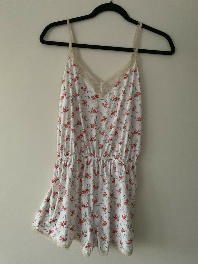 ee97af77c958a New Oysho White Printed Teddy Pajama Romper Size S Red Floral Print  #fashion #clothing
