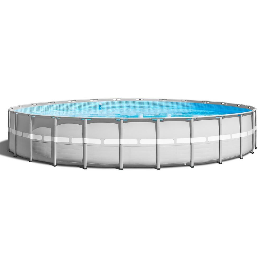 Intex 26 Ft X 52 In Ultra Frame Above Ground Swimming Pool Set With Pump And Ladder 26345vm The Home Depot Above Ground Swimming Pools Swimming Pools Swimming Pools Backyard