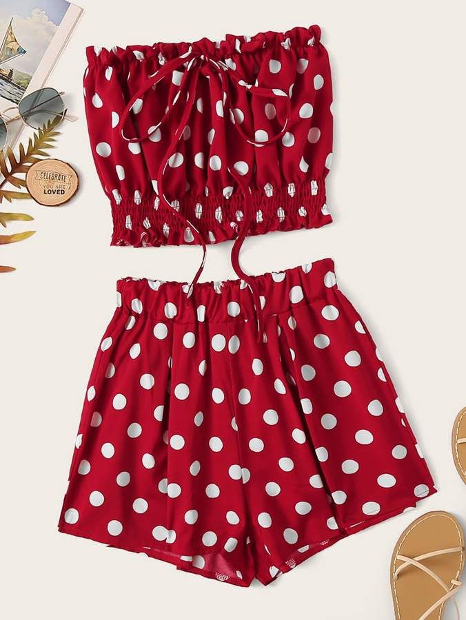 Shein Polka Dot Lettuce Frill Knot Tube Top With Shorts #tubetopoutfits