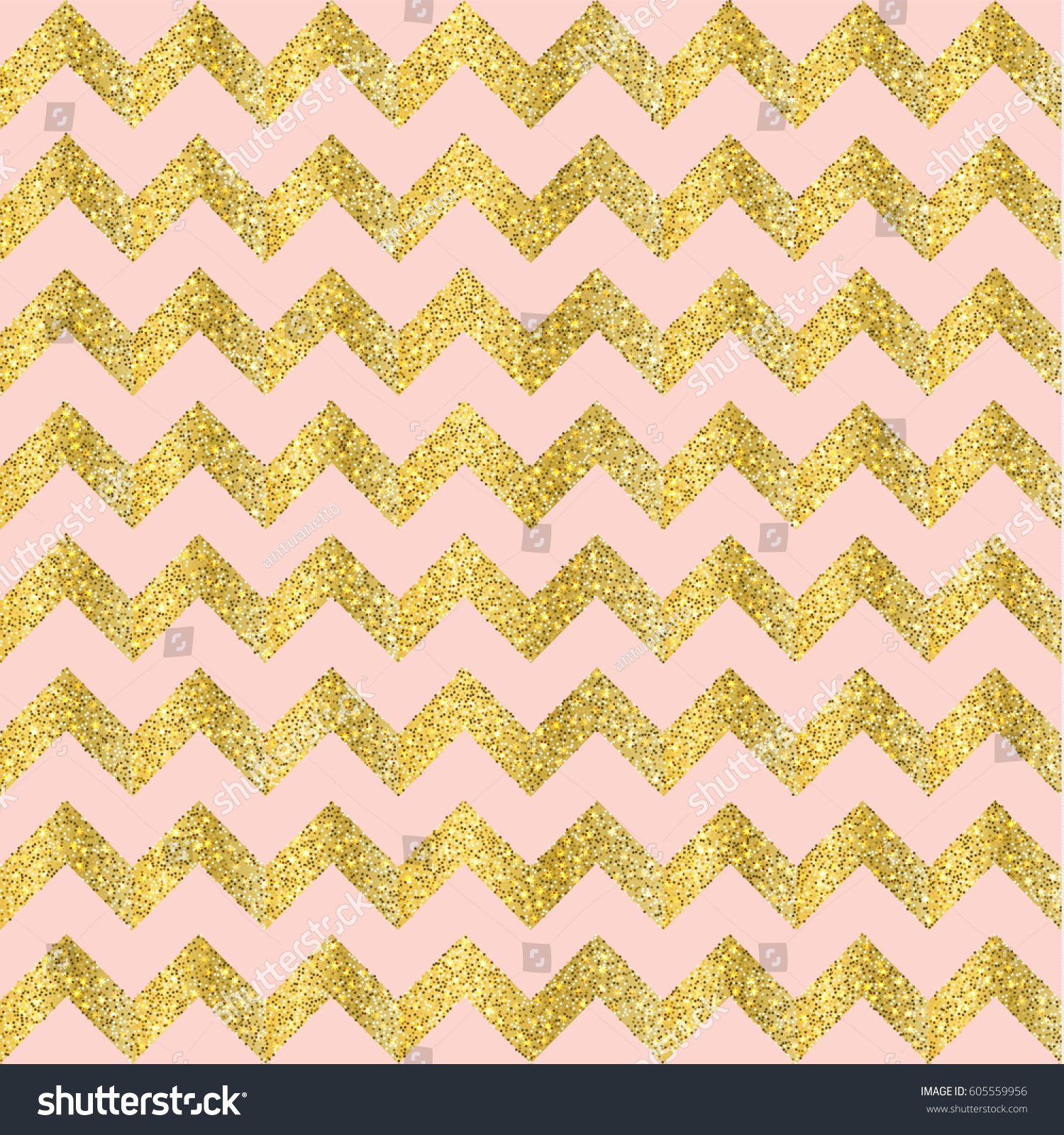 Vector Gold Glittering Confetti Seamless Pattern On Chevron Background And Pink Glitter