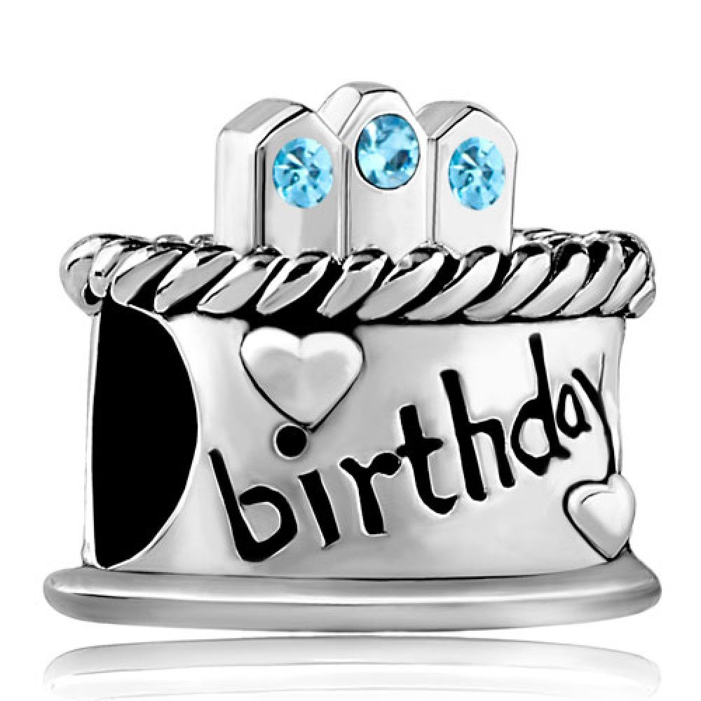 March Stone Birthday Cake Aquamarine Crystal Candles Gift Holiday