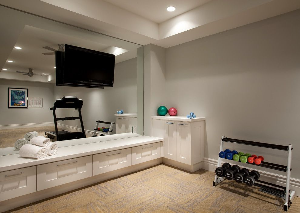 Small Home Gym Decorating Ideas Part - 18: Startling Full Wall Mirrors Home Gym Decorating Ideas Images In Home Gym  Transitional Design Ideas