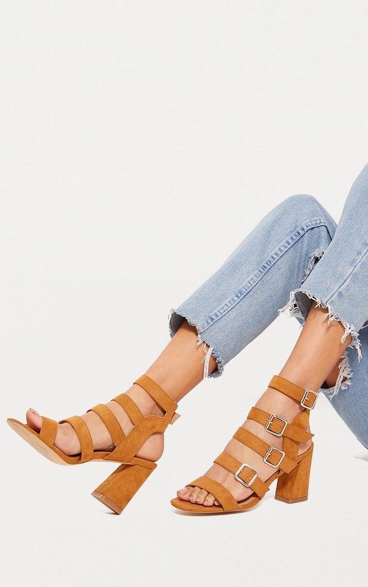 Tan Strappy Buckle Block Heel Sandal