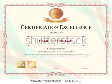 certificate of excellence template on abstract ribbon background with vintage border style