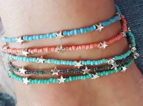Photo of Anklet, Blue bead stretch jewellery, Cute fashion accessory for Festival Goer or Boho style lover, Friendship gift idea, Ankle jewelry