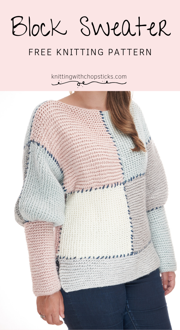 Photo of Block Sweater FREE Knitting Pattern  The Block Sweater is an oversized knit swea…
