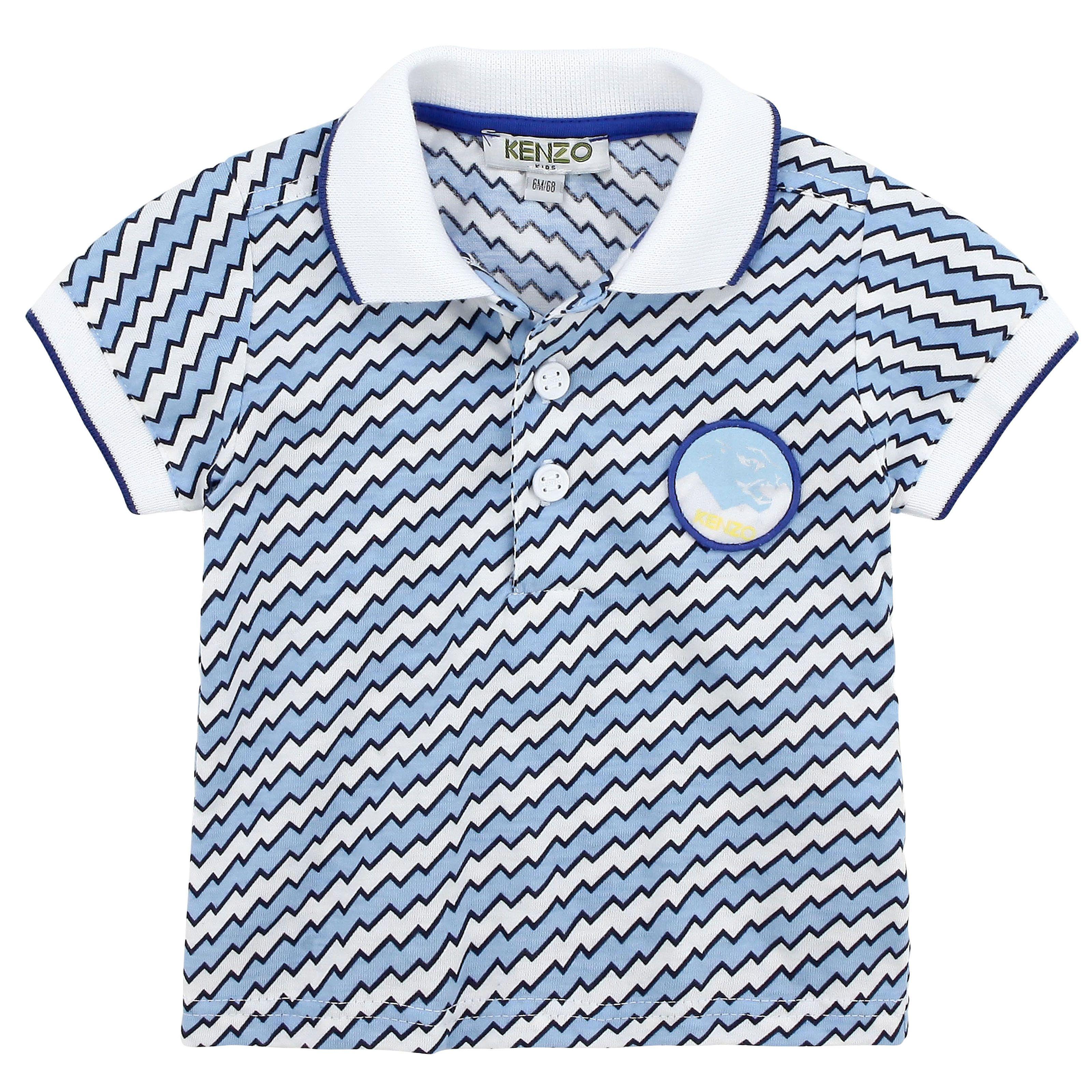 Kenzo Kids Sky blue and white polo Blue