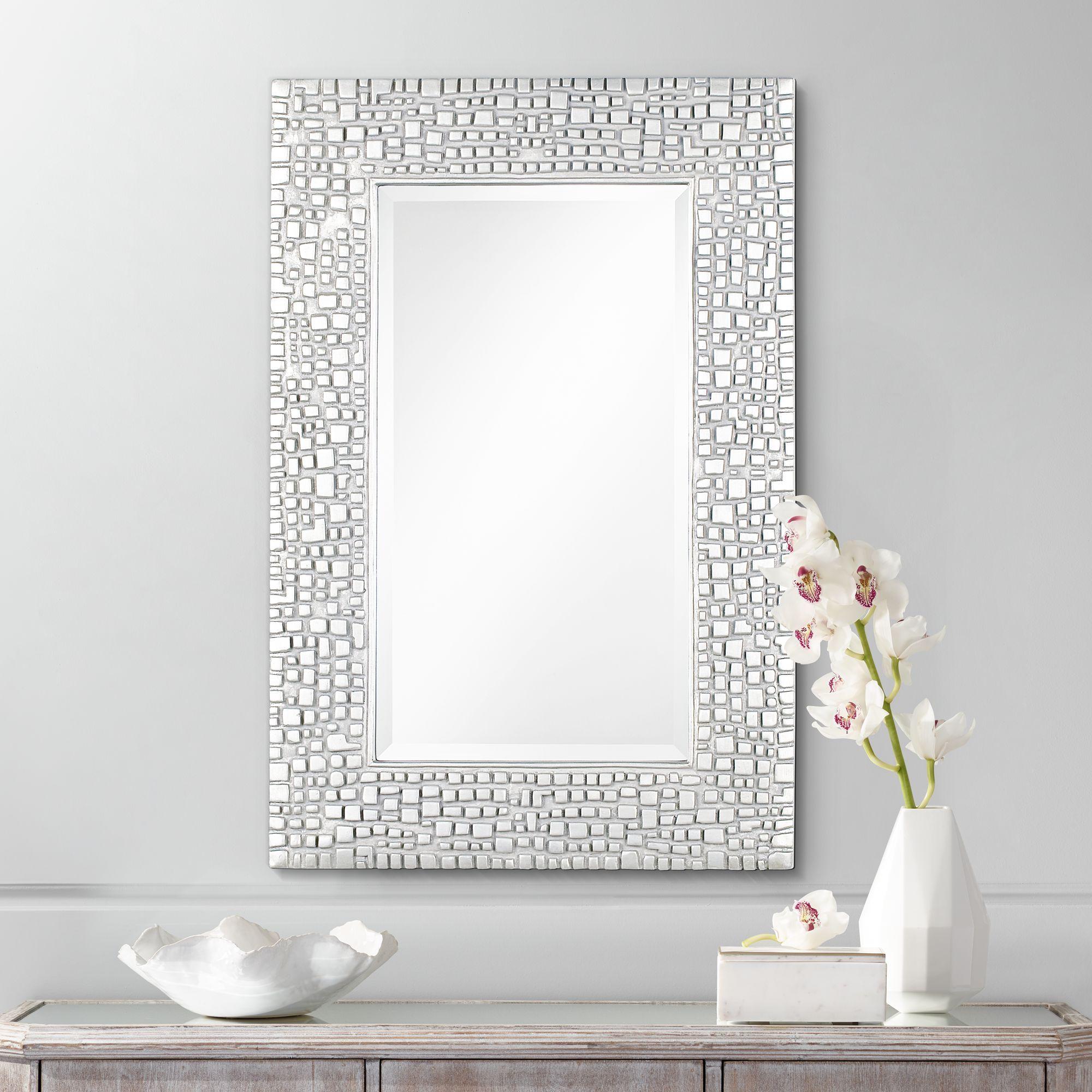 Noble Park Savla Textured Relief Silver 24 X 36 Wall Mirror Walmart Com Mirror Wall Bedroom Rustic Wall Mirrors Mirror Wall 24 by 36 mirror