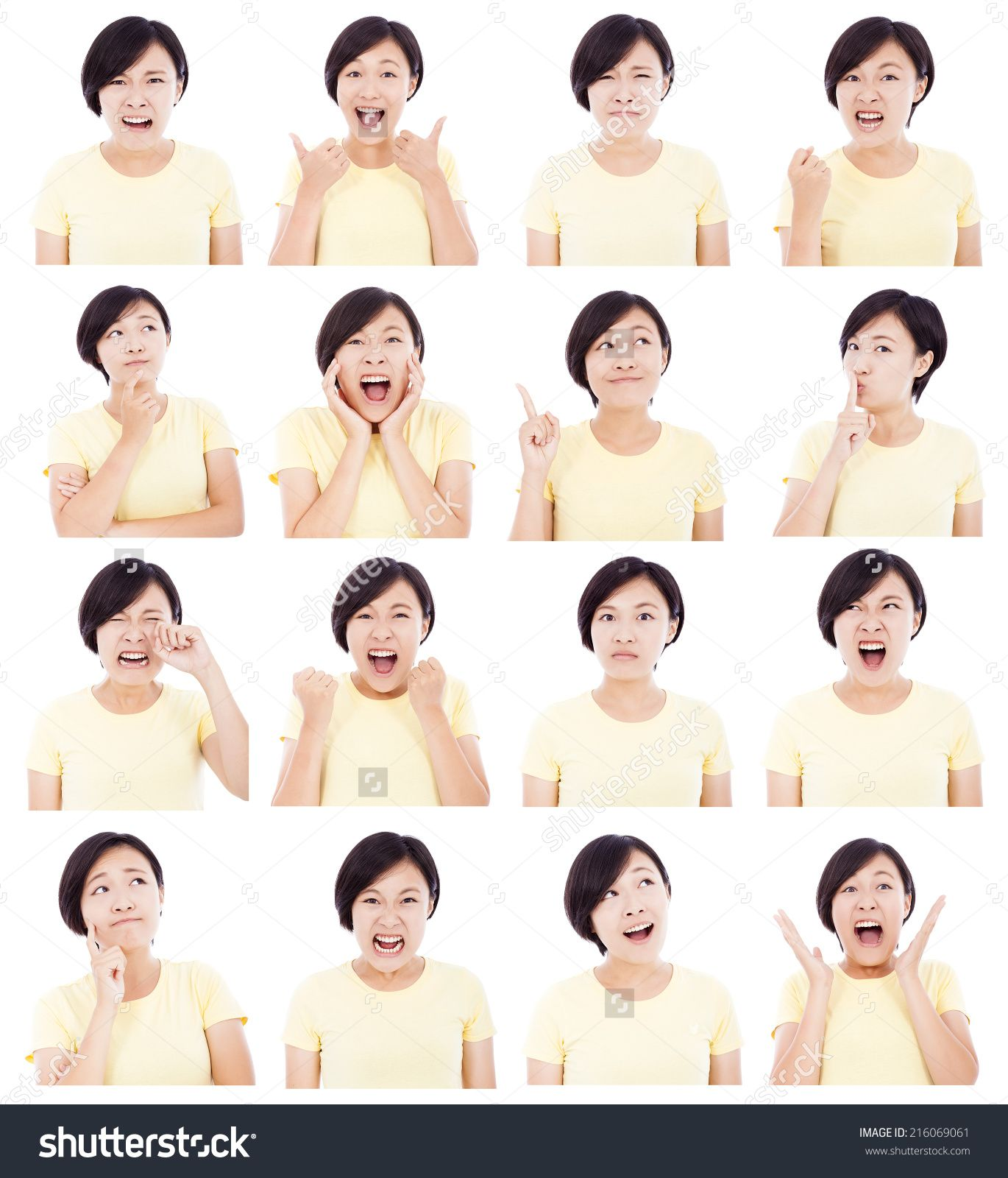 Asian Young Woman Making Different Facial Expressions Face Drawing Expressions Facial Expressions