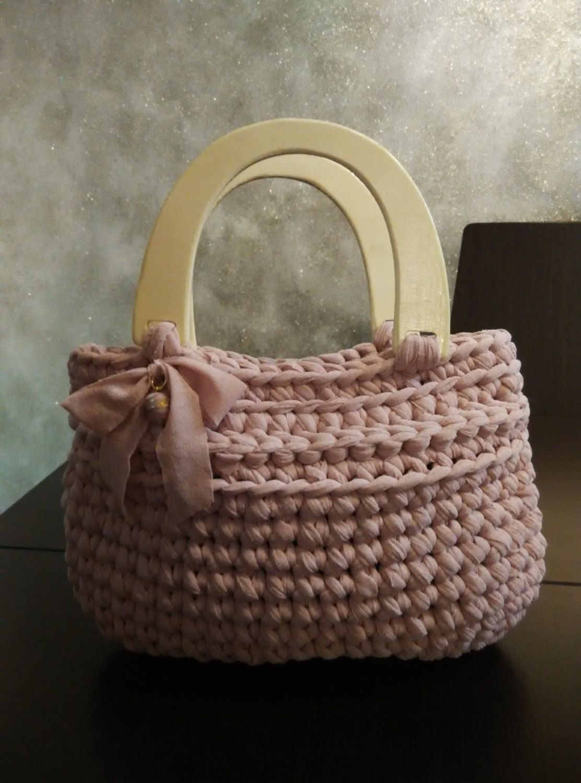 Crochet T Shirt Yarn Bag Purse With Wooden Handles Yarn Bag T Shirt Yarn Crochet T Shirts
