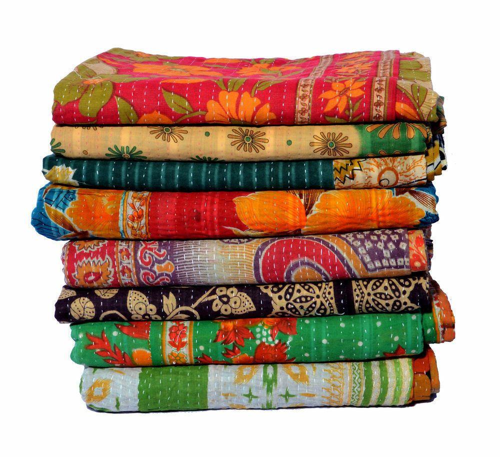 Kantha Quilt Indian Vintage Reversible Throw Handmade Blanket Wholesale Lot 8 pc