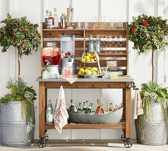 Galvanized Drink Dispenser with Stand #potterybarn