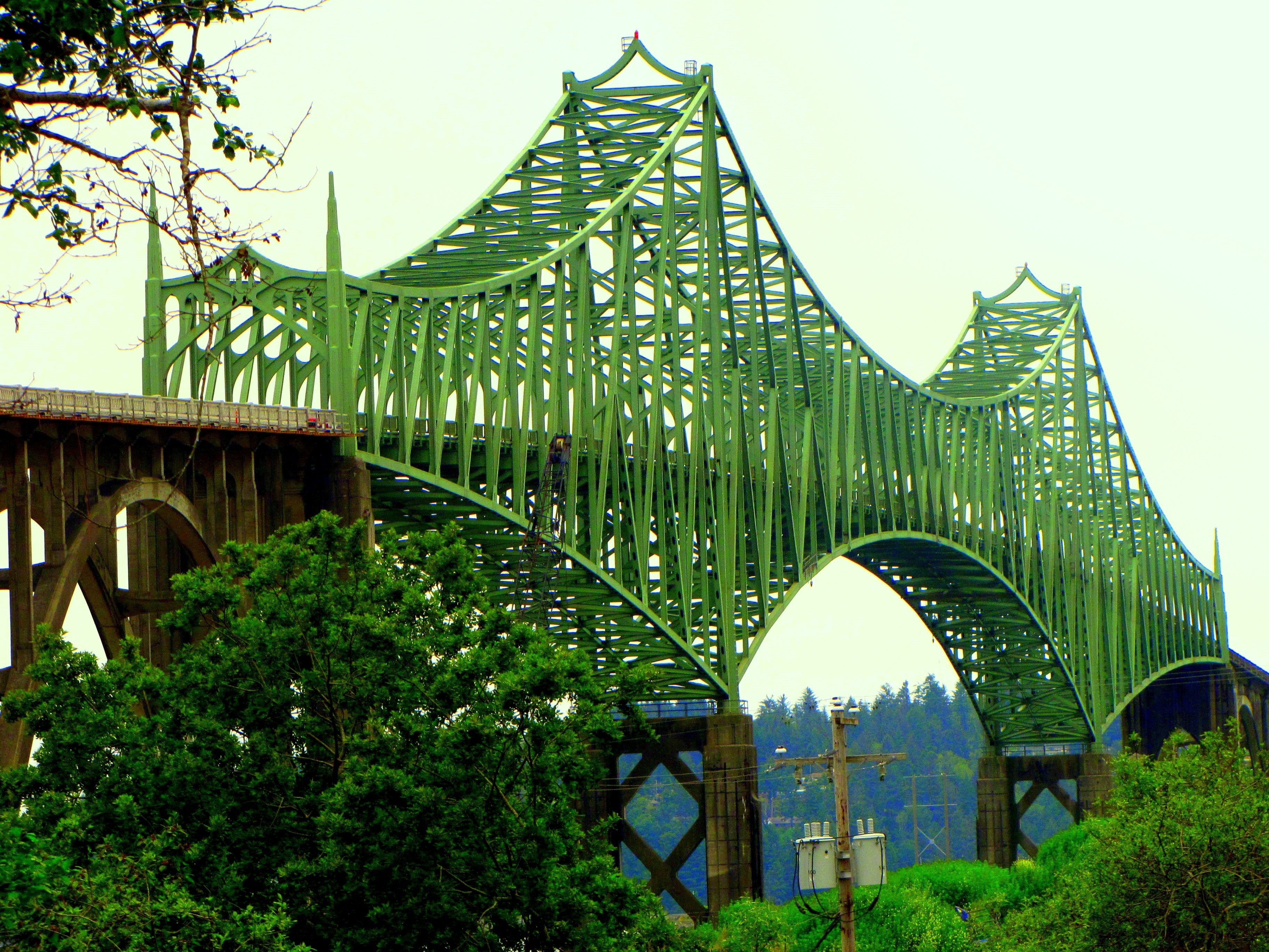Map Of Oregon Highways%0A McCullough Memorial Bridge   North Bend  Oregon   ft   m   Part of the  Oregon Coast Highway  the bridge crosses Coos Bay