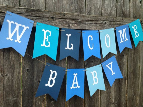 Welcome Baby Banner Welcome Baby Sign Baby Boy Shower Baby Shower Banner Boy Welcome Baby Signs Baby Boy Decorations