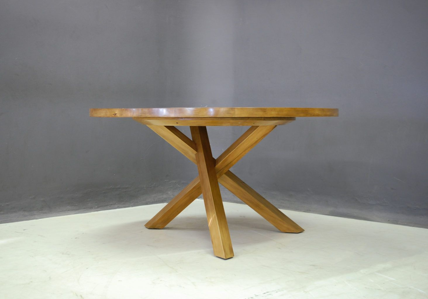 Round Table With Tripod Style Base In Country Yellowwood Solid