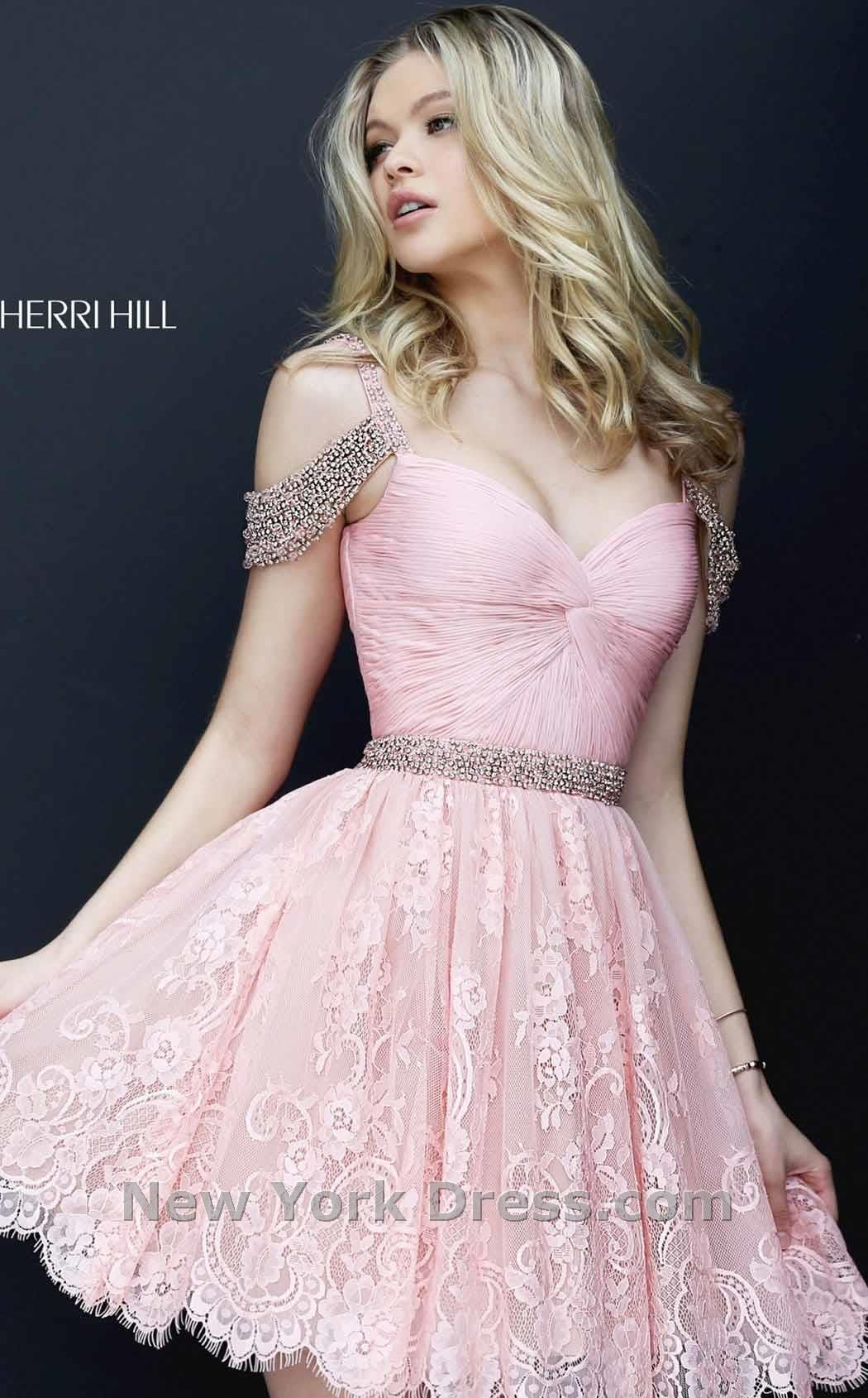2016 Beaded Off Shoulder Short Lace Sherri Hill 50503 Homecoming Dresses
