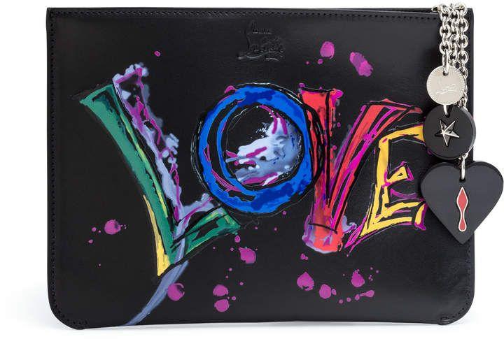 12dd5a7f768a5 Christian Louboutin Loubicute black love print pouch