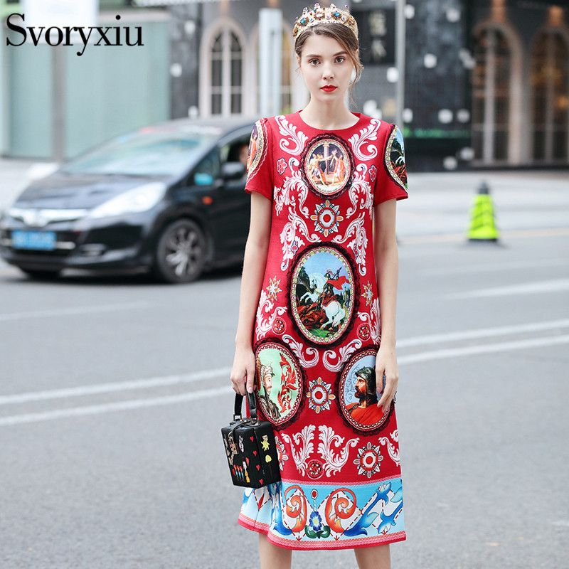 5a4a05452ffd0 Vintage Print Runway Long Dress Women High Quality Short Sleeve ...