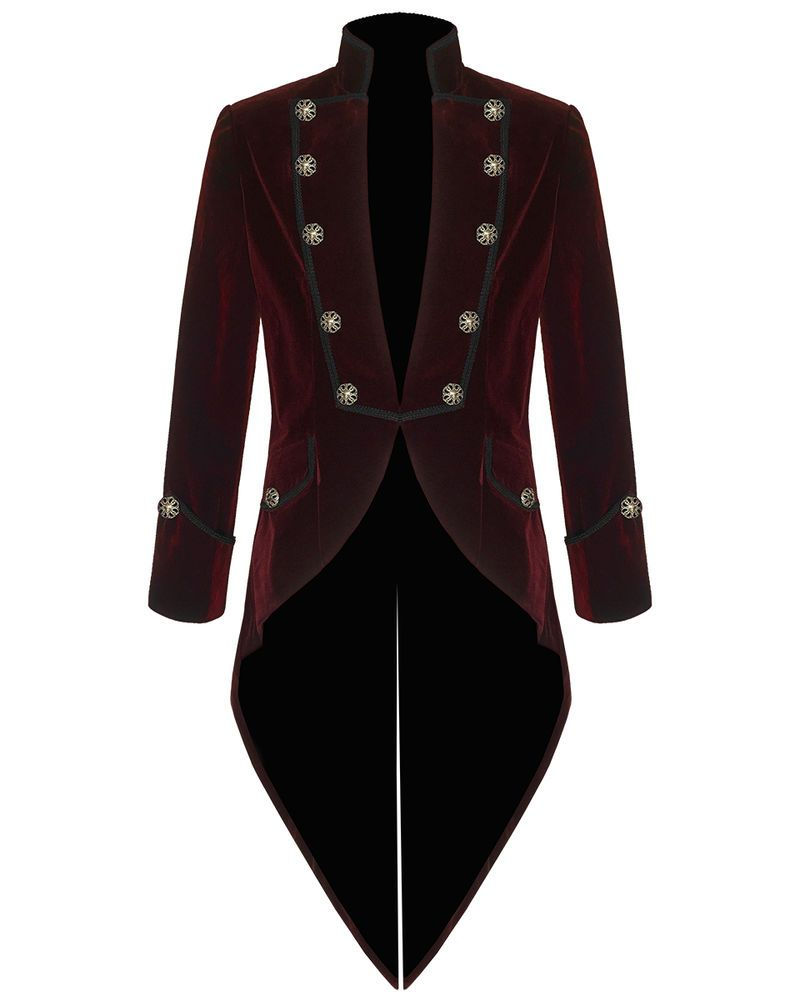 Pentagramme Mens Steampunk Tailcoat Jacket Red Velvet Goth VTG ...
