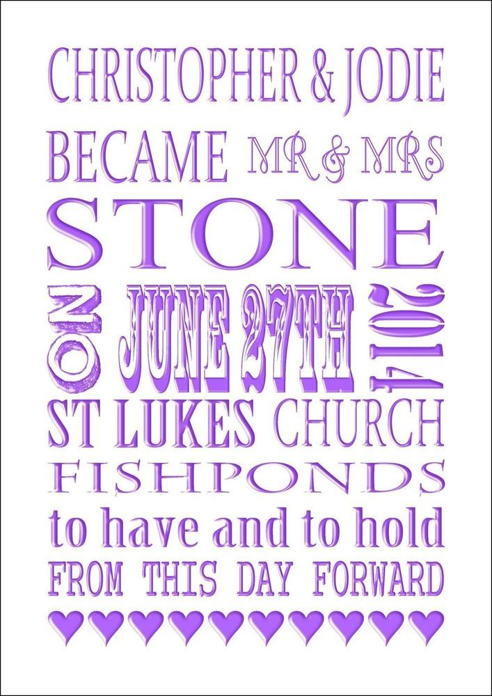 A BEAUTIFUL PERSONALISED WEDDING GIFT IDEA A4 PRINT SPECIAL WEDDING GIFT