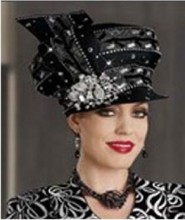 331c3062773 High-End Donna Vinci Hat Black trimmed with rhinestone highly embellished  on sale now