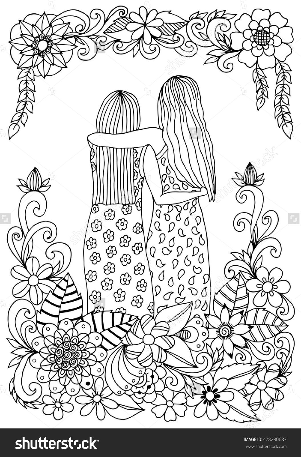 zentangle two sisters amongst flowers hugging coloring