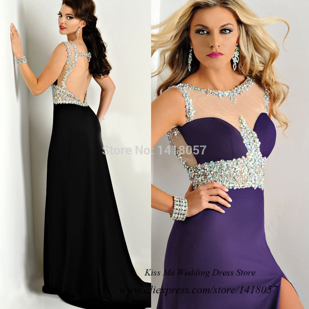Embellished Black Purple Prom Dress Backless Abendkleider Crystal ...