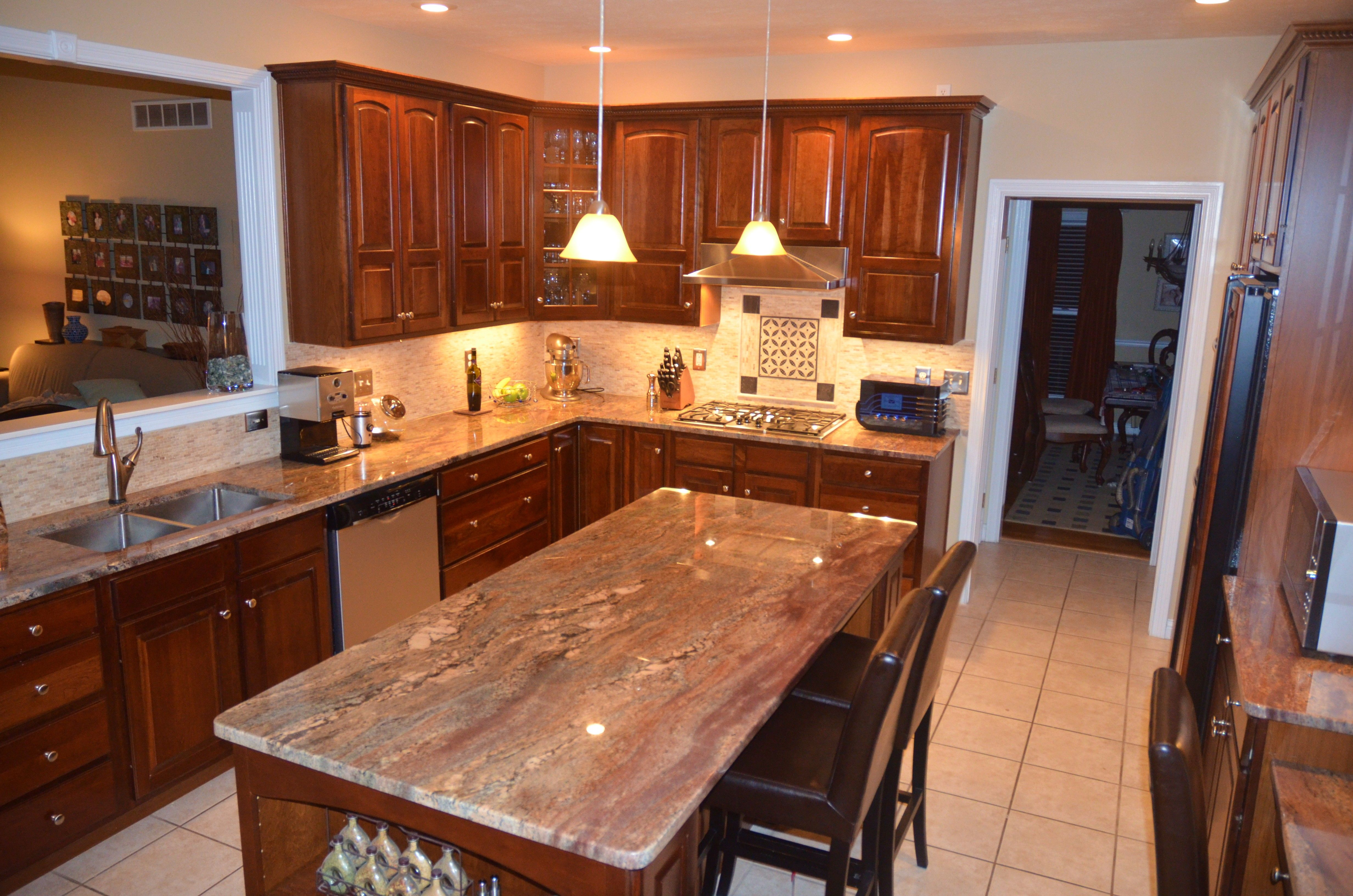 Kim's crema bordeaux granite countertops |