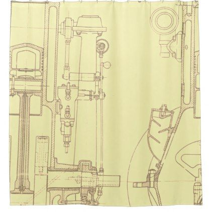 Schematic drawing old blueprint rustic colors soft shower curtain schematic drawing old blueprint rustic colors soft shower curtain malvernweather Images